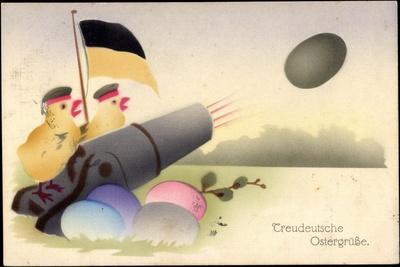 Frohe Ostern, Treudeutsche Ostergrüße,Küken,Kanone