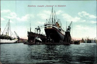 Hamburg, Dampfer Cleveland Der Hapag Im Riesendock