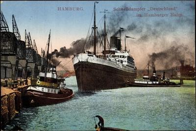 Hamburg, Schnelldampfer Deutschland Im Hafen, Hapag