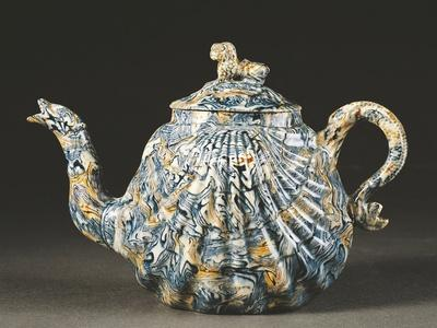 Shell-Shaped Teapot Decorated Like Agate, 1740-1745