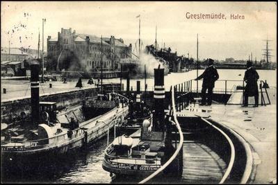Geestemünde Bremerhaven, Blick Zum Hafen, Dampfer