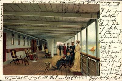 Litho Dampfer Pennsylvania Der Hapag, Promenadendeck