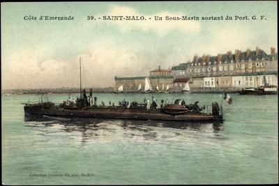 Saint Malo, Sous Marin Sortant Du Port, U Boot Fr.