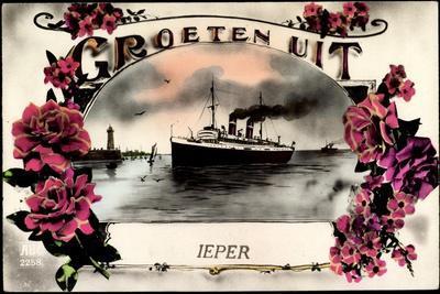 Groeten Uit, Dampfschiff Ieper, Leuchtturm, Blumen