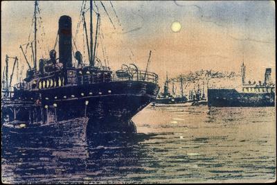 Leucht Künstler Luna Leucht Karte, Schiffe Im Hafen
