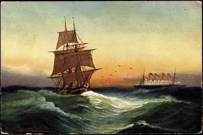 Künstler Segelschiff, 2 Master, Dampfschiff
