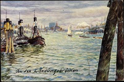 Künstler Ullmann, M., Hamburg,Hafen, Landungsbrücken
