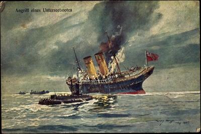Künstler Angriff Eines Unterseebootes, Brit. Dampfer