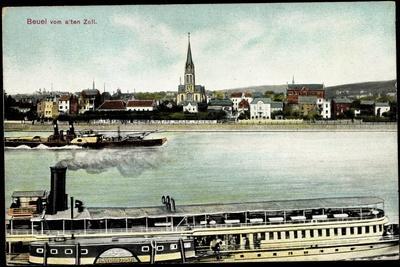 Bonn Beuel Am Rhein, Dampfer Barbarossa Mit Stadt