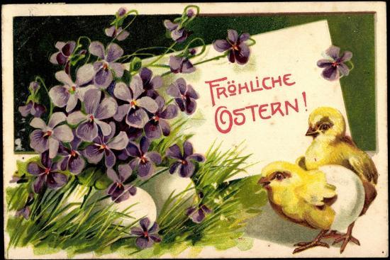 Präge Glückwunsch Ostern Küken Blumen