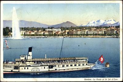 Lac Léman, Genf, Dampfer Savoie, Fontäne, Jet D'Eau