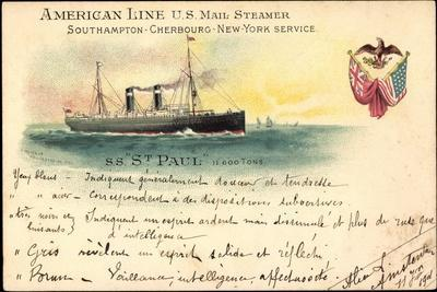Litho S. S. St. Paul, American Line U.S. Mail Steamer
