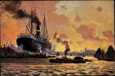 Künstler Theo Stroefer, Hafen,Dampfschiff, Dämmerung