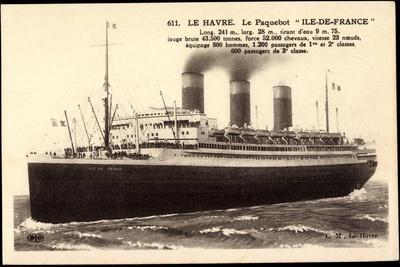 French Line, Cgt, Paquebot Ile De France, Dampfer