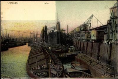 Hamburg,Partie Am Hafen, Kräne Und FlUSS Elbe,Schiff
