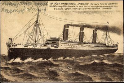 Hapag, Dampfschiff Imperator in Voller Fahrt