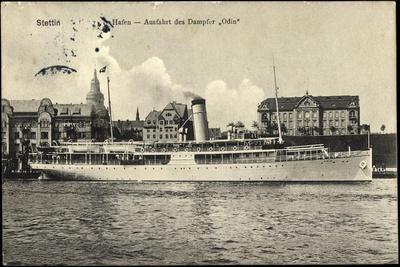 Stettin in Pommern, Hafen, Ausfahrt D. Dampfers Odin