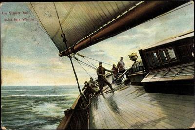 Am Steuer Bei Scharfem Winde, Seeleute, Segelboot