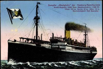 Dampfer Westphalia Der Hapag in Voller Fahrt