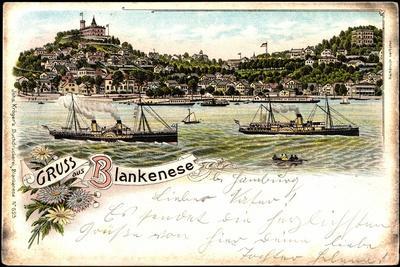 Litho Hamburg Altona Blankenese, Dampfer, Badeanstalt