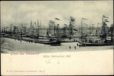 Emmerich, Hafen Mit Schiffen, Weihnachten 1899