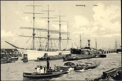 Hamburg, Blick Auf Den Hafen, Segelschiff, Dampfer