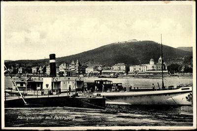 Königswinter, Blick Auf Den Hafen, Dampfer, Häuser