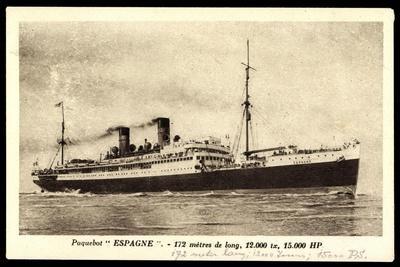 French Line Cgt, Paquebot Espagne, Dampfschiff