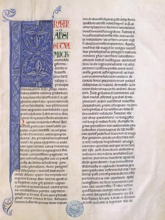 Illuminated Page from a Bible Found in the Abbey of Clairvaux, Manuscript 27 Folio 1 Recto, France