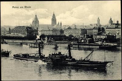 Mainz Rhein, Fluss, Dampfer Mathias Stinnes, Stadt