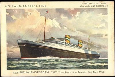 Künstler Hapag, T.S.S. Nieuw Amsterdam, Dampfschiff