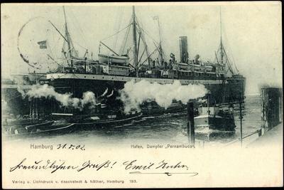 Hamburg, Hafen, Dampfer Pernambuco Der Hsdg