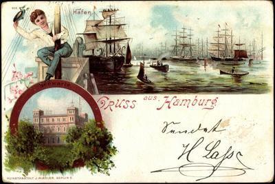 Litho Hamburg Harburg, Segelschiffe Im Hafen, Seewarte