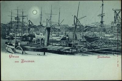 Mondschein Bremen, Partie Im Freihafen, Schiffe