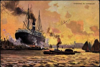 Künstler Evening in Harbour, Steamer, Boats