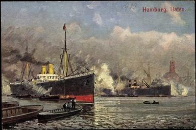 Künstler Hamburg, Blick Auf Hafen, Ueberseer B. Laden