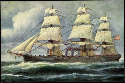 Künstler Rave, C., Segelschiff, Dampfer, Usa