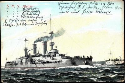 Deutsches Kriegsschiff S.M.S. Wettin in Fahrt
