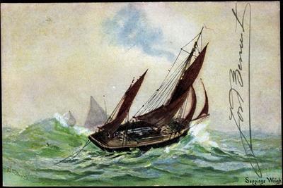 Künstler Wright, S., Segelboot, Stürmische See