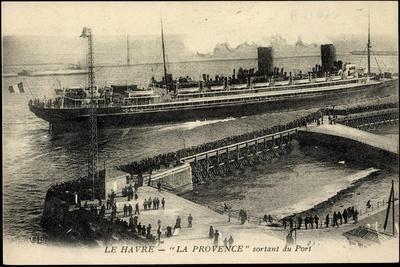 Le Havre, Dampfschiff La Provence, Sgtm, Abfahrt