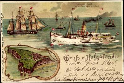 Litho Helgoland, Dampfer Prinz, Heinrich, Segelschiff