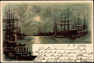 Künstler Litho Heide, Hamburg, Im Hafen, Segelschiffe