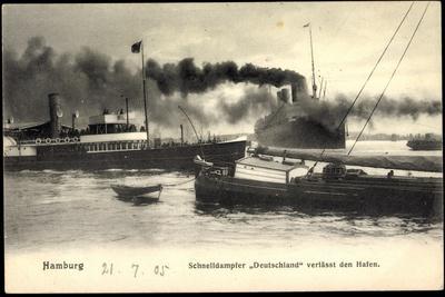 Hamburger Hafen, Schnelldampfer Deutschland, Hapag