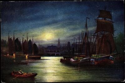 Künstler Segelschiffe Im Hafen, Mond, Tsn Serie 820