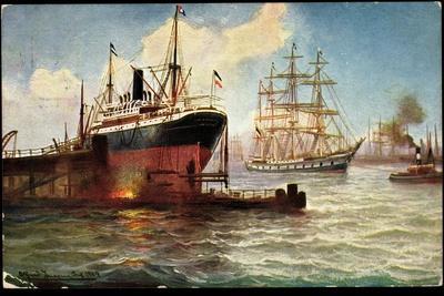 Künstler Blick in Den Hafen, Dampfer, Segelschiff