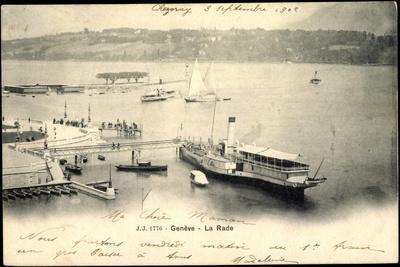 Genf, La Rade, Dampfer France, Anlegestelle, Stadt