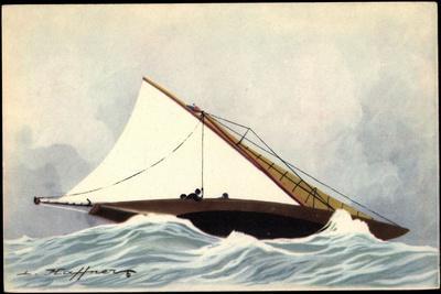 Künstler Haffner, L., Yacht Au Bas Ris, Segelboot