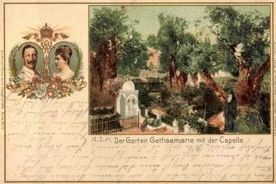 Litho Kaiserreise 1898, Wilhelm II, Garten Gethsemane