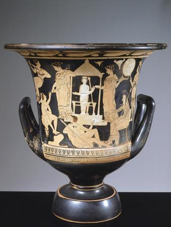 Attic Chalice Krater Depicting Iphigenia and Satyrs, 380 BC
