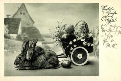 Glückwunsch Ostern, Hasen Ziehen Wagen Mit Eiern
